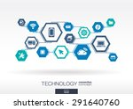 technology network. hexagon... | Shutterstock .eps vector #291640760