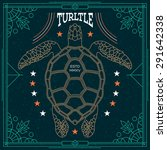 stylish thin line turtle label. ... | Shutterstock .eps vector #291642338