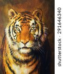 tiger head  color oil painting ... | Shutterstock . vector #291646340