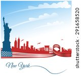 new york city background on usa ... | Shutterstock .eps vector #291658520