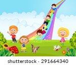 cartoon little kids playing...   Shutterstock .eps vector #291664340