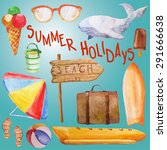 watercolor elements on a beach... | Shutterstock .eps vector #291666638
