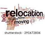 relocation word cloud concept | Shutterstock . vector #291672836