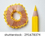 yellow pencil and shavings on... | Shutterstock . vector #291678374
