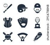 baseball related vector icon set   Shutterstock .eps vector #291678848