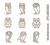 Set Of Owl Logos And Emblems...