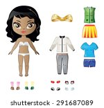 beautiful vector dress up paper ... | Shutterstock .eps vector #291687089