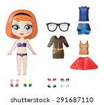 beautiful vector dress up paper ... | Shutterstock .eps vector #291687110