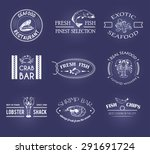 vector set of style seafood... | Shutterstock .eps vector #291691724