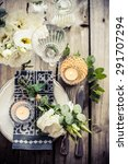 table setting with white... | Shutterstock . vector #291707294