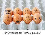 Eight Brown Eggs  With Faces...