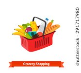 red plastic shopping basket...   Shutterstock .eps vector #291717980