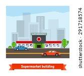 roadside supermarket or local...   Shutterstock .eps vector #291718574