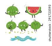 cute watermelon cartoon...   Shutterstock .eps vector #291723593