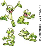 Cartoon Frog In Different Pose...