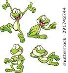 cartoon frog in different poses.... | Shutterstock .eps vector #291743744