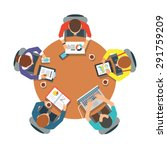 five people team sitting and... | Shutterstock .eps vector #291759209