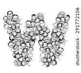 letter w  people crowd  vector... | Shutterstock .eps vector #291772106