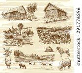rural landscape and houses  ...   Shutterstock .eps vector #291776396