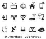 black telecom icons set   Shutterstock .eps vector #291784913