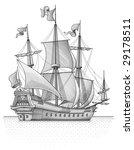 retro sail ship vector | Shutterstock .eps vector #29178511