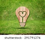 Light Bulb Wood Icon And Heart...
