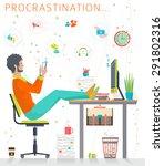 Stock vector concept of procrastination worker shelves his business flat vector illustration 291802316