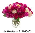 Stock photo many roses of red pink and yellow colors in a vase isolated on white 291843053