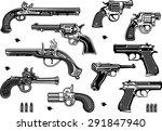guns  old and modern | Shutterstock .eps vector #291847940
