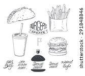 sketched fast food set in black ... | Shutterstock .eps vector #291848846