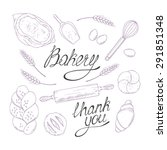 bakery sketched illustrations... | Shutterstock .eps vector #291851348