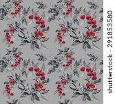 watercolor garden rowan plant... | Shutterstock . vector #291853580