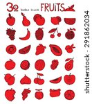 thirty doodle icons fruits... | Shutterstock . vector #291862034