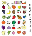thirty doodle icons fruits... | Shutterstock . vector #291862229