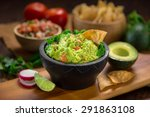a delicious bowl of guacamole... | Shutterstock . vector #291863108