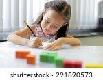 a little girl enjoying her... | Shutterstock . vector #291890573