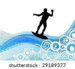 wake boarder on waves   vector | Shutterstock .eps vector #29189377