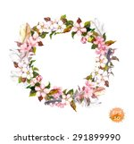 vintage frame   wreath in boho... | Shutterstock .eps vector #291899990