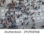 Crowd Of People From Above Bir...