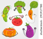 a set of pictures of vegetables ... | Shutterstock .eps vector #291917780