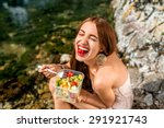 Woman Eating Healthy Salad Fro...