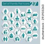 set of family flat icons for... | Shutterstock .eps vector #291933263