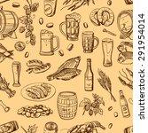 beer seamless pattern on beige... | Shutterstock .eps vector #291954014
