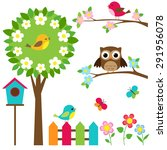 vector set of birds  flowers... | Shutterstock .eps vector #291956078