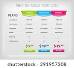 web pricing table template for... | Shutterstock .eps vector #291957308