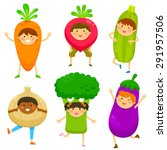 children dressed like vegetables | Shutterstock .eps vector #291957506