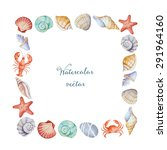 watercolor square frame of sea... | Shutterstock .eps vector #291964160