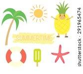 summer object set vector design ...   Shutterstock .eps vector #291965474