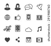 social media icons  mono vector ... | Shutterstock .eps vector #291988760
