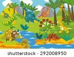 cartoon dinosaur land  ... | Shutterstock . vector #292008950